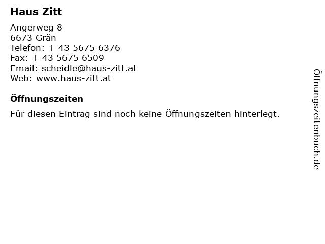 Haus Zitt in Grän: Adresse und Öffnungszeiten