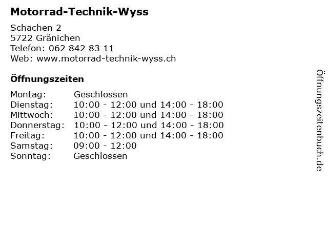 Motorrad-Technik-Wyss in Gränichen: Adresse und Öffnungszeiten