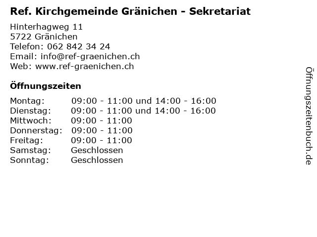 Ref. Kirchgemeinde Gränichen - Sekretariat in Gränichen: Adresse und Öffnungszeiten