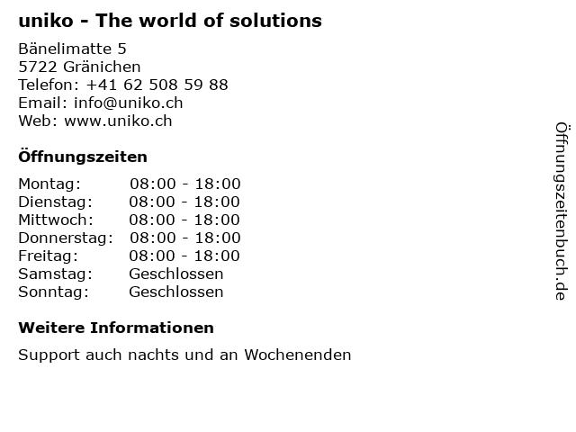 uniko - The world of solutions in Gränichen: Adresse und Öffnungszeiten