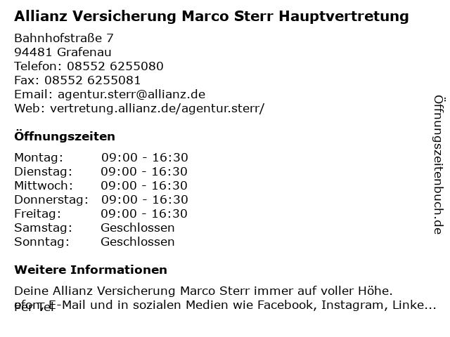 Allianz Versicherung -Hauptvertretung Marco Sterr in Grafenau: Adresse und Öffnungszeiten