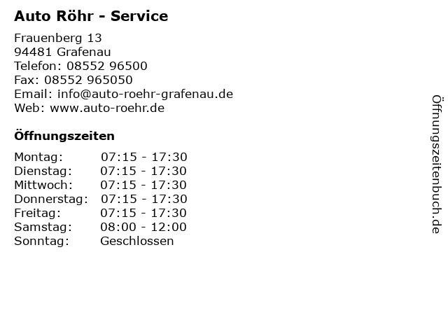 Auto Röhr - Service in Grafenau: Adresse und Öffnungszeiten