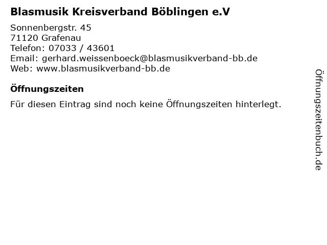 Blasmusik Kreisverband Böblingen e.V in Grafenau: Adresse und Öffnungszeiten