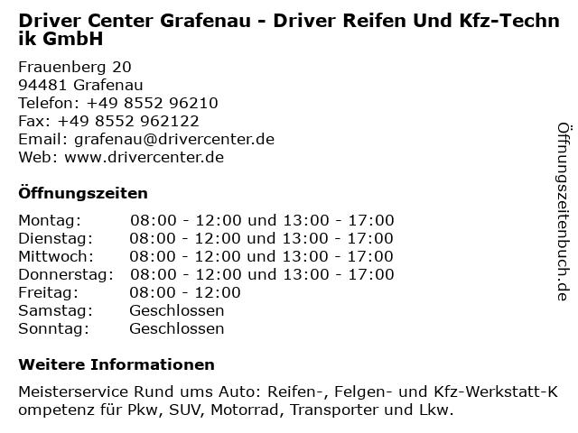 DRIVER CENTER GRAFENAU - DRIVER REIFEN UND KFZ-TECHNIK GMBH in Grafenau: Adresse und Öffnungszeiten