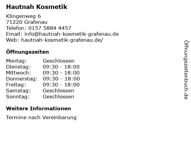 Hautnah Kosmetik in Grafenau: Adresse und Öffnungszeiten