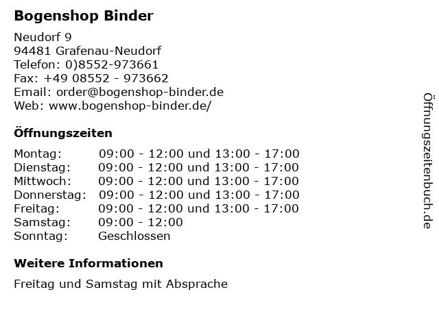 Bogenshop Binder in Grafenau-Neudorf: Adresse und Öffnungszeiten