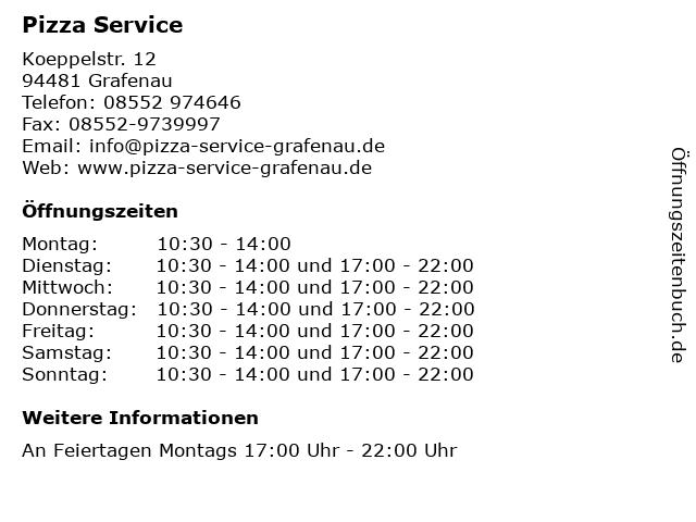 Pizza Service in Grafenau: Adresse und Öffnungszeiten