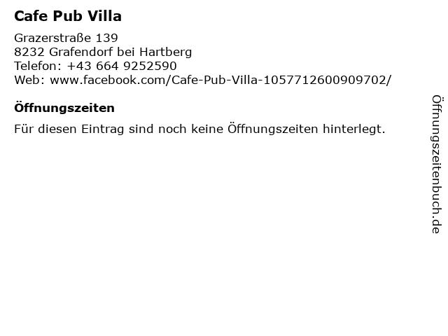 Cafe Pub Villa in Grafendorf bei Hartberg: Adresse und Öffnungszeiten