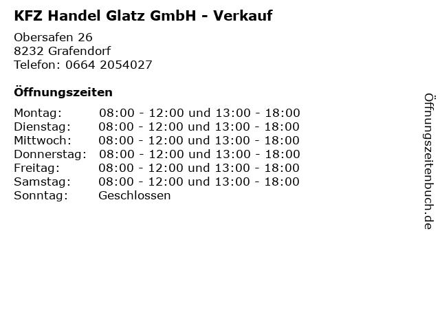 KFZ Handel Glatz GmbH - Verkauf in Grafendorf: Adresse und Öffnungszeiten