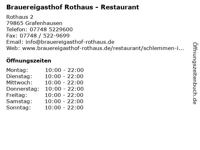 Brauereigasthof Rothaus - Restaurant in Grafenhausen: Adresse und Öffnungszeiten