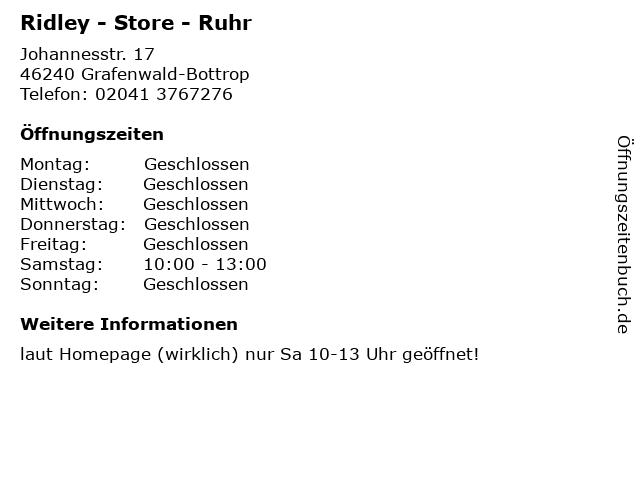 Ridley - Store - Ruhr in Grafenwald-Bottrop: Adresse und Öffnungszeiten