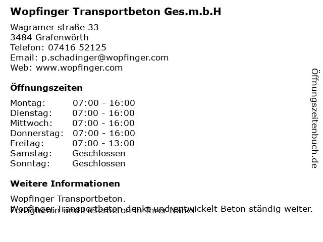 Wopfinger Transportbeton Ges.m.b.H in Grafenwörth: Adresse und Öffnungszeiten