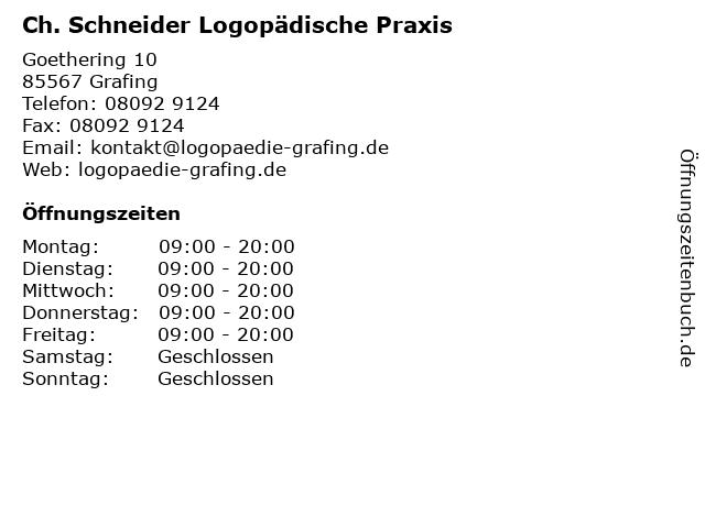 Ch. Schneider Logopädische Praxis in Grafing: Adresse und Öffnungszeiten