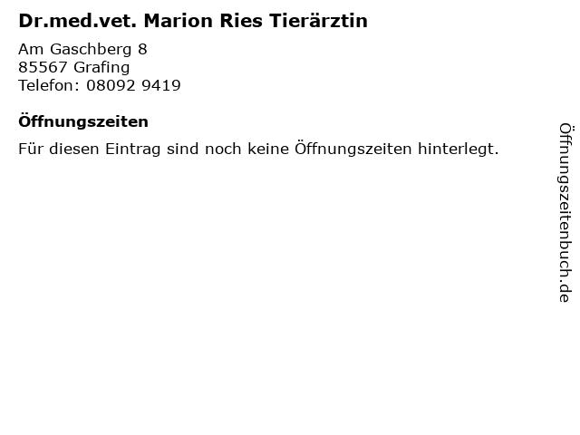 Dr.med.vet. Marion Ries Tierärztin in Grafing: Adresse und Öffnungszeiten