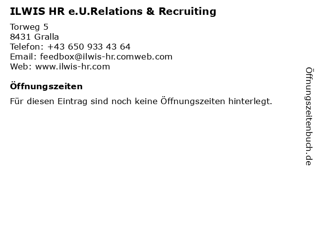 ILWIS HR e.U.Relations & Recruiting in Gralla: Adresse und Öffnungszeiten