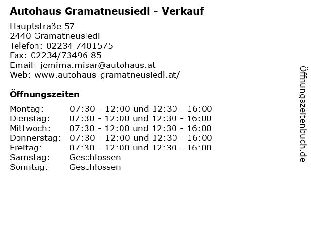 Autohaus Gramatneusiedl - Verkauf in Gramatneusiedl: Adresse und Öffnungszeiten