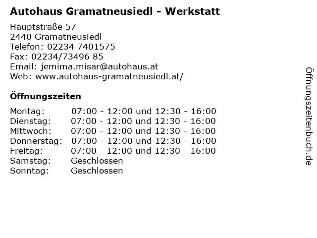 Autohaus Gramatneusiedl - Werkstatt in Gramatneusiedl: Adresse und Öffnungszeiten