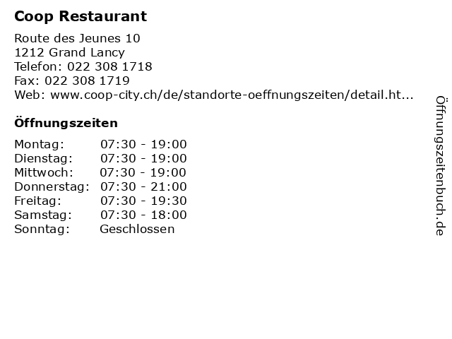 Coop Restaurant in Grand Lancy: Adresse und Öffnungszeiten