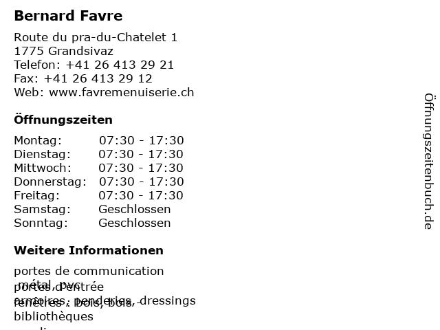 Bernard Favre in Grandsivaz: Adresse und Öffnungszeiten