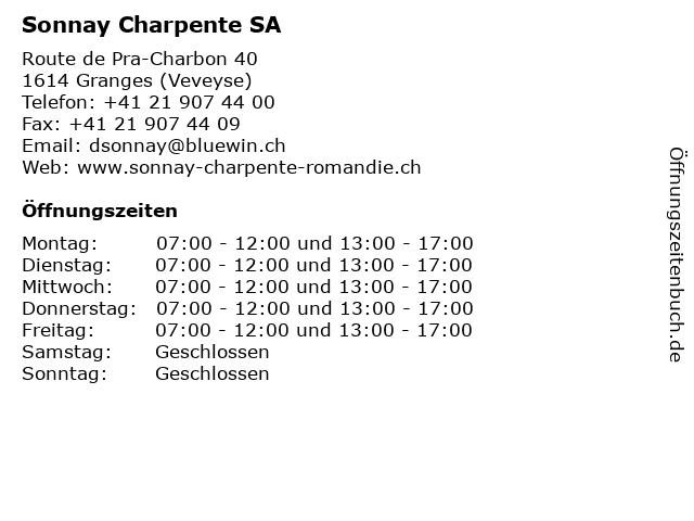 Sonnay Charpente SA in Granges (Veveyse): Adresse und Öffnungszeiten