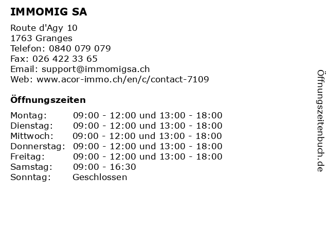 IMMOMIG SA in Granges: Adresse und Öffnungszeiten