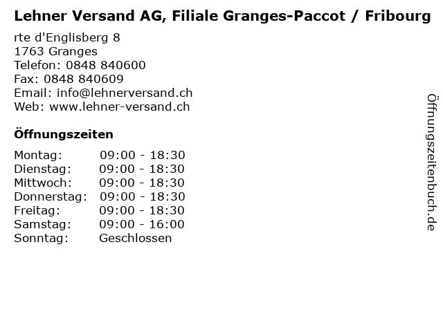 Lehner Versand AG, Filiale Granges-Paccot / Fribourg in Granges: Adresse und Öffnungszeiten
