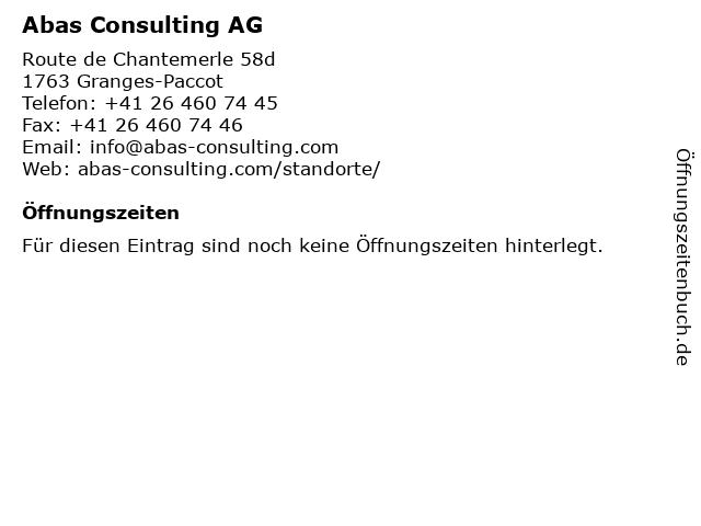 Abas Consulting AG in Granges-Paccot: Adresse und Öffnungszeiten