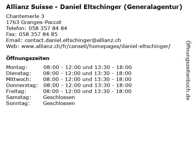 Allianz Suisse - Daniel Eltschinger (Generalagentur) in Granges-Paccot: Adresse und Öffnungszeiten