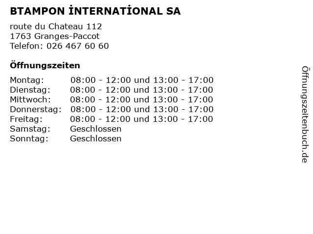 BTAMPON İNTERNATİONAL SA in Granges-Paccot: Adresse und Öffnungszeiten