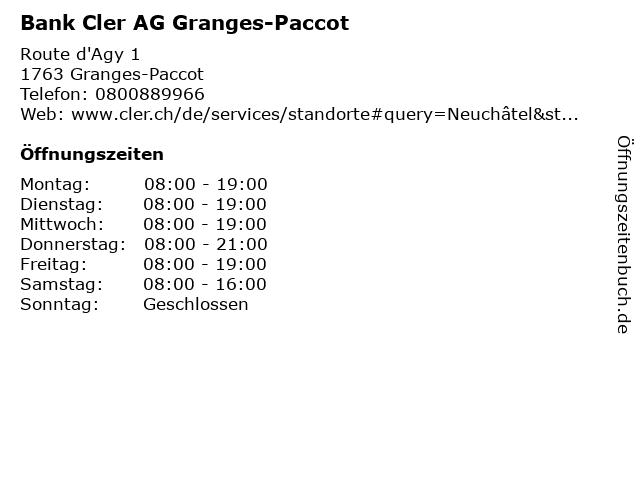 Bank Cler AG Granges-Paccot in Granges-Paccot: Adresse und Öffnungszeiten