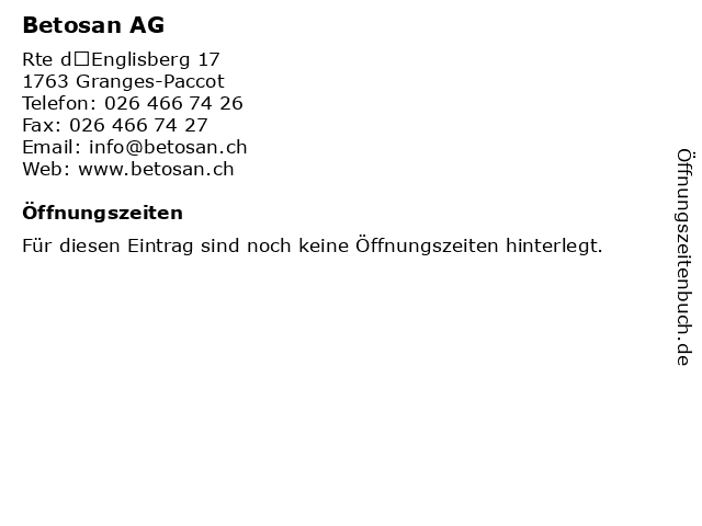 Betosan AG in Granges-Paccot: Adresse und Öffnungszeiten