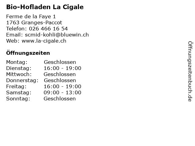 Bio-Hofladen La Cigale in Granges-Paccot: Adresse und Öffnungszeiten