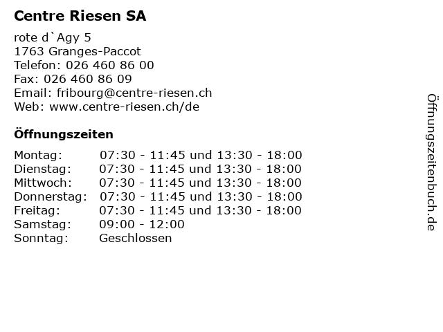 Centre Riesen SA in Granges-Paccot: Adresse und Öffnungszeiten