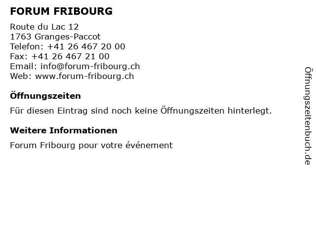 FORUM FRIBOURG in Granges-Paccot: Adresse und Öffnungszeiten