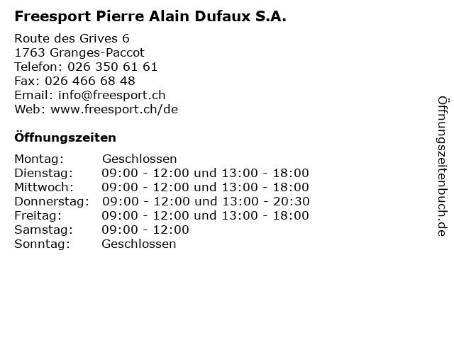 Freesport Pierre Alain Dufaux S.A. in Granges-Paccot: Adresse und Öffnungszeiten