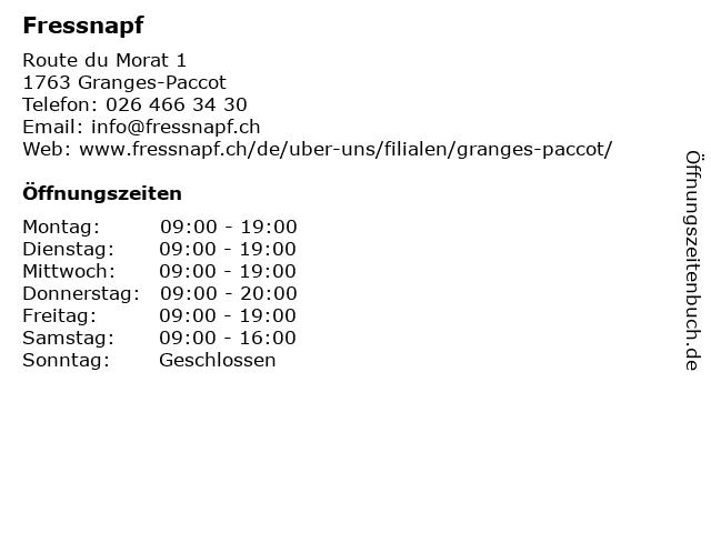 Fressnapf in Granges-Paccot: Adresse und Öffnungszeiten