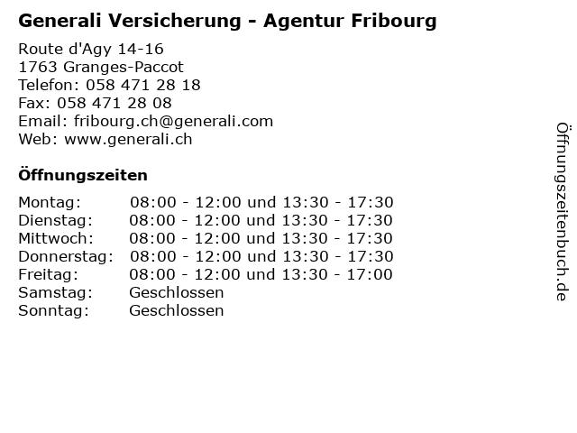 Generali Versicherung - Agentur Fribourg in Granges-Paccot: Adresse und Öffnungszeiten