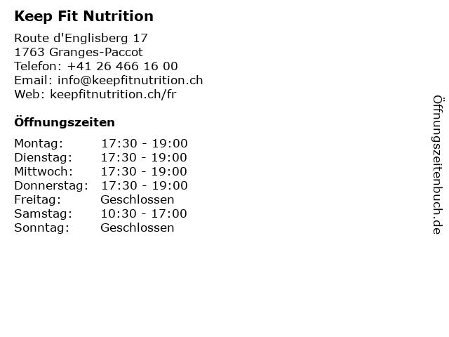 Keep Fit Nutrition in Granges-Paccot: Adresse und Öffnungszeiten