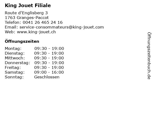 King Jouet Filiale in Granges-Paccot: Adresse und Öffnungszeiten