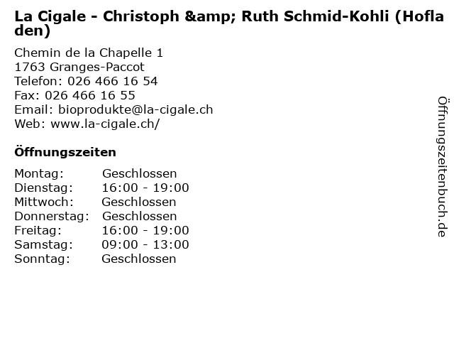 La Cigale - Christoph & Ruth Schmid-Kohli (Hofladen) in Granges-Paccot: Adresse und Öffnungszeiten