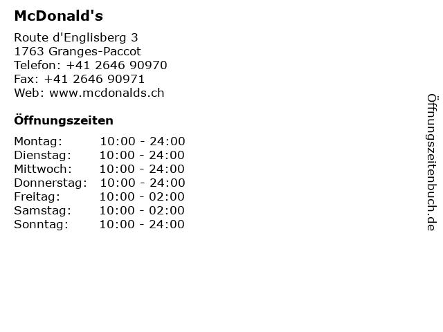 McDonald's in Granges-Paccot: Adresse und Öffnungszeiten
