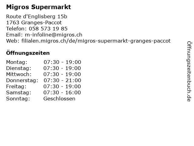 Migros Supermarkt in Granges-Paccot: Adresse und Öffnungszeiten