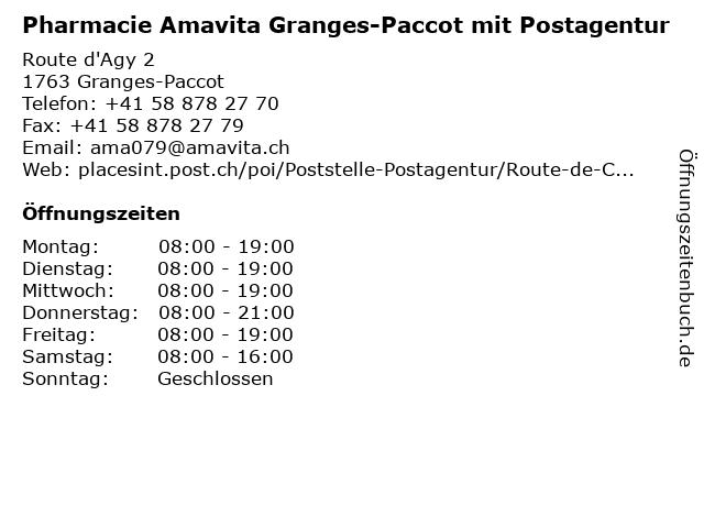 Pharmacie Amavita Granges-Paccot mit Postagentur in Granges-Paccot: Adresse und Öffnungszeiten