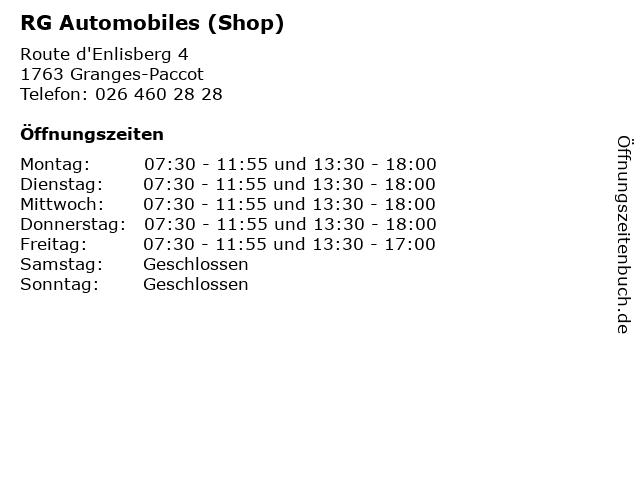 RG Automobiles (Shop) in Granges-Paccot: Adresse und Öffnungszeiten
