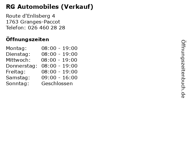 RG Automobiles (Verkauf) in Granges-Paccot: Adresse und Öffnungszeiten