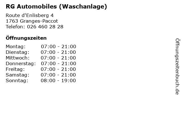 RG Automobiles (Waschanlage) in Granges-Paccot: Adresse und Öffnungszeiten
