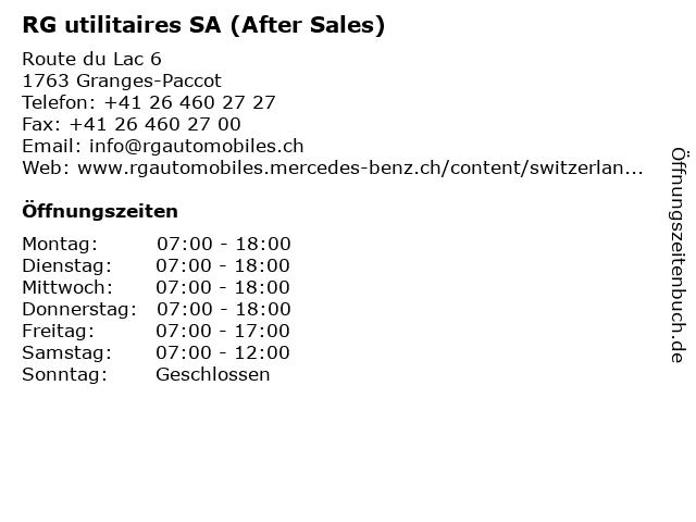 RG utilitaires SA (After Sales) in Granges-Paccot: Adresse und Öffnungszeiten