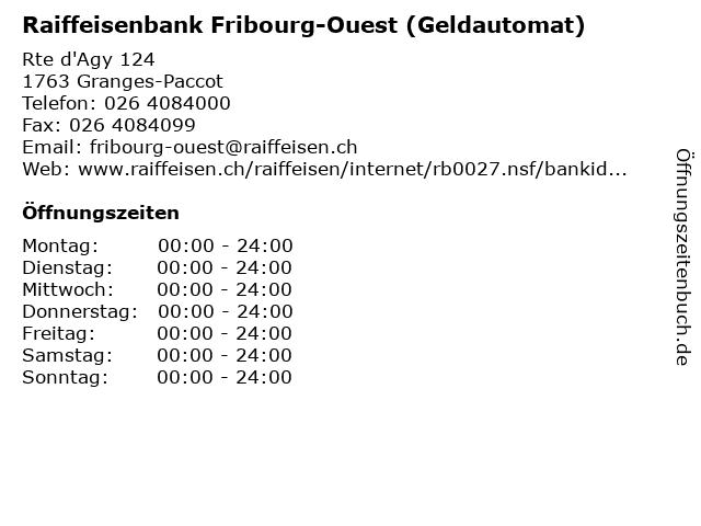 Raiffeisenbank Fribourg-Ouest (Geldautomat) in Granges-Paccot: Adresse und Öffnungszeiten