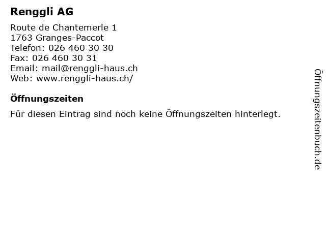Renggli AG in Granges-Paccot: Adresse und Öffnungszeiten