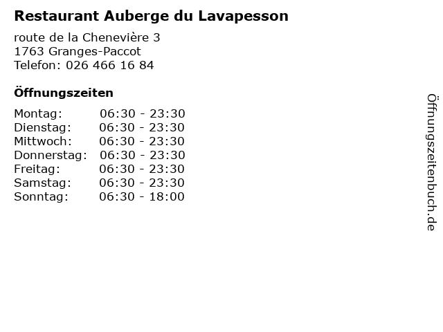 Restaurant Auberge du Lavapesson in Granges-Paccot: Adresse und Öffnungszeiten